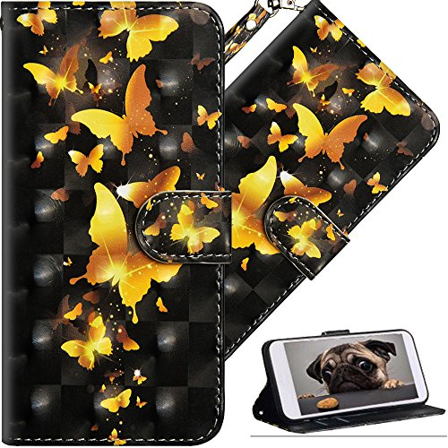 COTDINFOR Nokia 7 Plus Hülle für Geschenk Lederhülle 3D-Effekt Painted Kartenfächer Schutzhülle Protective Handy Tasche Schale Standfunktion Etui für Nokia 7 Plus Golden Butterflies YX.