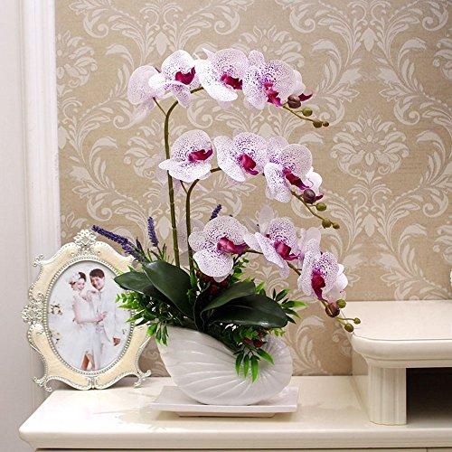 Flinfeays fiori artificiali fiori finti falena orchidea creativo fai da te finestra di nozze stand partito cucina decorazioni per la casa in ceramica bianco -01