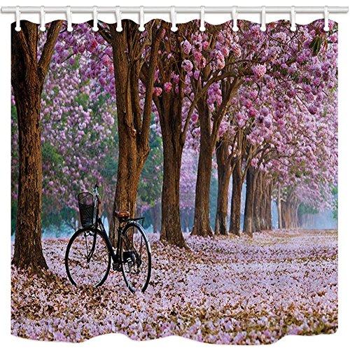 nyngei Fahrrad Duschvorhang Baum und Bike Romantische Saison Sakura waft Polyester-Schimmelresistent-Badezimmer Dusche Vorhang Set mit Haken 180x 180cm Badezimmer Zubehör (Badezimmer-set Sakura)