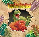 Unbekannt Set Einladungskarten Dinosaurier Einheitsgröße