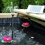 PK Green Solar Springbrunnen Teichpumpe, 2W Solarbrunnen Pumpe für Teich, Garten, Außen Wasserfall - Höhe: 0,70 m