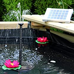 Solar Fountain Pump 2w - Floating Water Pump For Small Pond, Garden, Water Feature, Bird Bath 70 Cm Height By Pk Green