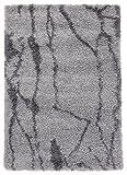 A2Z RUG Cozy Super Designer Shaggy Rugs Silver & Dark Grey 120x170 cm - 3'9''x5'5'' ft Contemporary Living Dinning Room & Bedroom Soft Area Rug