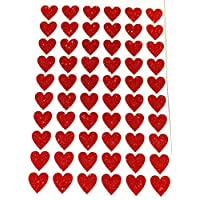 60 Glittery Red HEART Stickers 20mm