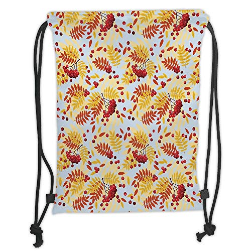 Fashion Printed Drawstring Backpacks Bags,Rowan,Ripe Rowan Bunch of Berries with Falling Dried Leaves Fall Nature Theme,Red Yellow Baby Blue Soft Satin,5 Liter Capacity,Adjustable String Closure,T - Fälle Zebra-print Laptop