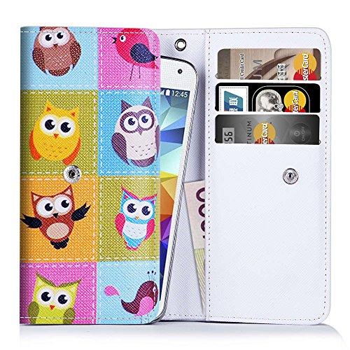 Handytasche für Smartphones zwischen 131x65x7mm bis 144x78x9,7mm aus strapazierfähigen Kunstleder. Ideale Schutzhülle für Handys mit integrierten Kreditkartenfächern und Platz für Geldscheine.Eulenmuster(240)