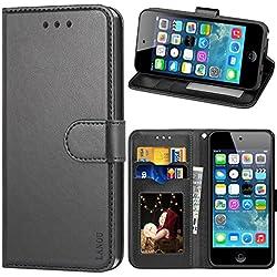 LANOU Coque iPod Touch 5, Housse Cuir iPod Touch 6 Etui à Rabat Portefeuille Coque pour Apple iPod Touch 5ème/6ème Génération (Noir)