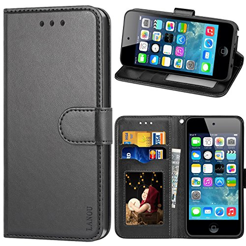 LANOU Touch Hülle, iPod Touch 5 Hülle, iPod Touch 6 Hülle, Leder Schutzhülle Handyhülle Etui Silikonhülle für Apple iPod Touch 5G 6G Case Cover - Schwarz Ipod Touch 5 Cover