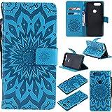 WindTeco OnePlus 5T Hülle, Mandala Blume Muster Handyhülle Flip Wallet Case Cover Ledertasche Schutzhülle mit Kartenfach Standfunktion für OnePlus 5T