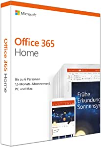 Microsoft Office 365 Home (jetzt Microsoft 365 Family) multilingual | 6 Nutzer | Mehrere PCs / Macs, Tablets und mobile Geräte | 1 Jahresabonnement | Box
