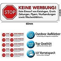 Keine Werbung Aufkleber in weiss - Schild – Folie - Sticker ( STOP Bitte keine Kostenlose Zeitung, Reklame, Flyer, Handzettel, Wurfsendungen, Werbung einwerfen, etc. ) für den Briefkasten – 10 Stück