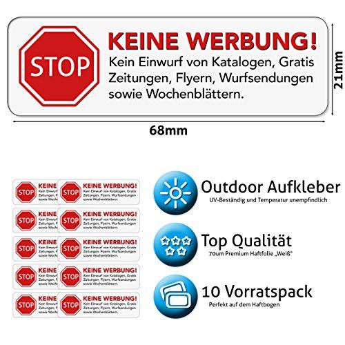 Keine Werbung Aufkleber in weiss - Schild – Folie - Sticker (STOP Bitte keine Kostenlose Zeitung, Reklame, Flyer, Handzettel, Wurfsendungen, Werbung einwerfen, etc.) für den Briefkasten – 10 Stück