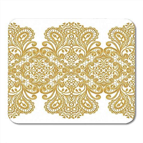Schreibtischunterlage,Border Golden Curls Oriental Arabesques Brillante Spitze Blumen Durchbrochene...