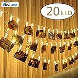 ELINKUME LED Foto Clip Lichterkette, 2,2 M/7,21ft 20er Foto-Clips, Warmweiß Batteriebetrieben Stimmungslicht Ideal für hängende Bilder, Notizen, Artwork, Memos