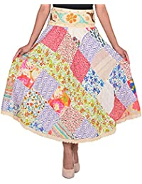 VS FASHION Women's Casual Patch Work Cotton Skirt