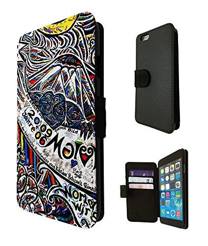 693 - Wall of Berlin berlin contemporary art Design iphone SE 5 5S Fashion Trend TPU Leder Brieftasche Hülle Flip Cover Book Wallet Credit Card Kartenhalter Case