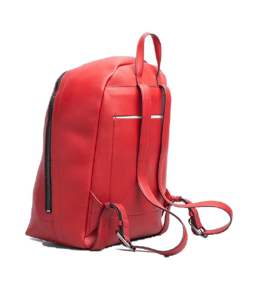 Calvin Klein – Bolso mochila de cuero sintético para mujer Rojo rojo Medium