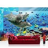 Vlies Fototapete 312x219cm PREMIUM PLUS Wand Foto Tapete Wand Bild Vliestapete - Meer Tapete Aqua unter Wasser Delfine Fische Natur Wasserpflanzen bunt - no. 2092