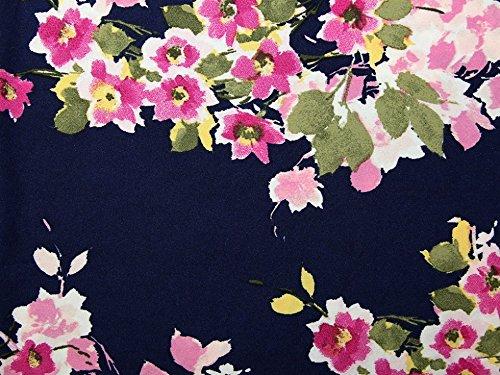 Floral Print Stretch Stretch Jersey Kleid Stoff navy blue & pink–Meterware (Aus Floral Blue Jersey)