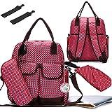 Babyhugs® 6pcs Fashion Mama 4-Wege-wickeln Windel Rucksack Tasche–Rot mit kleinen