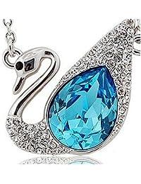 Lily joyas Vivid con Zafiros azules con cristales de Swarovski collar con colgante de cabeza de un cisne de cristal de forma de para mujer