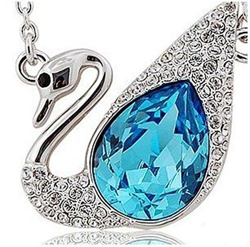 Lily Jewelry vivace zaffiro blu, con cristalli Swarovski Elements-Collana con ciondolo a forma di cigno, da donna