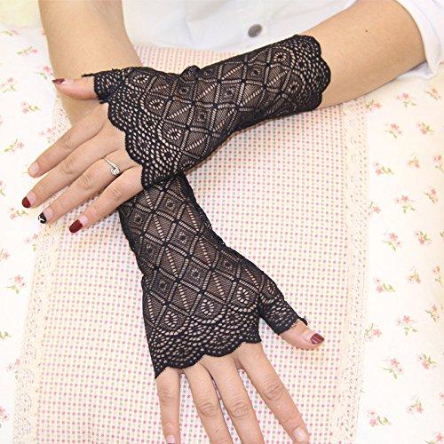 schutz Handschuhe Kurze Fingerlose Dünne Driving-Handschuhe mit Spitze Blumenmuster UV Schutz für Hochzeit Party Abend Schwarz (Schwarz Mesh Fingerlose Handschuhe)