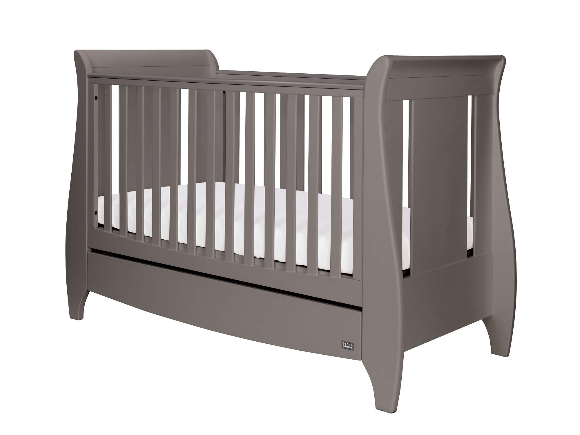 Tutti Bambini Lucas Space Saver Sleigh Cot Bed - with Under Bed Drawer, Additional Foam Mattress - Cool Grey
