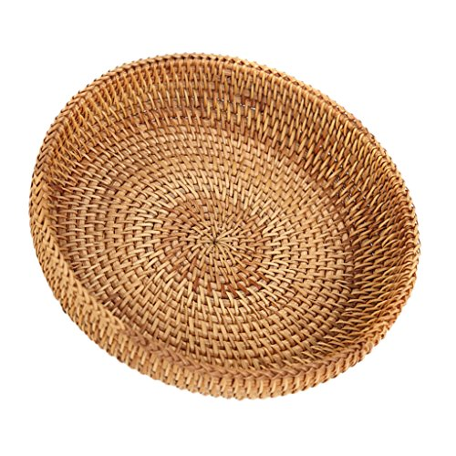 MagiDeal Handmade Round Woven Bread Roll Basket Fruits Bowl Storage Tray Container