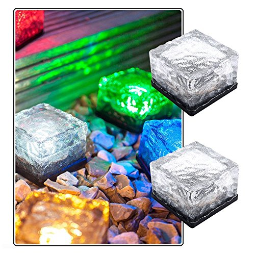 Loveusexy Solar Garden Light wasserdichte LED begraben Lights Ice Cube Glas Steine Rock Lampe für Outdoor pewter Garten Yard Pack of 2PCS & Colorful