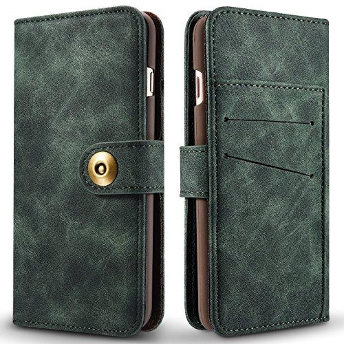 Phone Case pour Apple iPhone 84.7Étui portefeuille avec porte-cartes et magnétique Coque de protection amovible vert