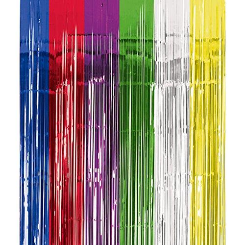 NET TOYS Fadenvorhang bunt metallic Lametta Vorhang Mehrfarbig 240 x 91 cm Lametta Vorhang Mehrfarbig Fransenvorhang Regenbogen