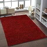 Teppich Shaggy Hochflor Einfarbig Wohnzimmer Rot Neu Öko Tex 80x150 cm