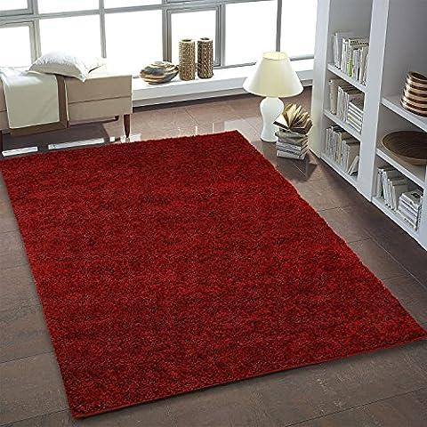 Shaggy Teppich Hochflor Langflor Teppiche fürs Wohnzimmer und Schlafzimmer geeignet sowie für die Küche und Kinderzimmer Ökotex 100 zertifiziert (150x150 cm quadratisch, (Teppich Rot)