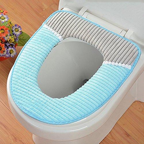 JINSANSHUN Toilettensitzabdeckung Toilettensitz Pad Wärmer WC Sitzbezug Deckel Soft Winter Corduroy Toilet Sitzmatte Plüsch Weichsitz Deckel Pads Kissen Auflage mit PU-Wasserdichte Boden - blau