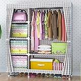 Kleiderschrank QFF Einfacher Oxford Tuch-Garderoben-Stahlrahmen-Dickere 25MM Stahlrohr-Verdickung-großer Versammlungs-Tuch-Wandschrank (Farbe : #4)