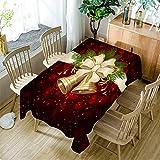 Ansenesna Tischtuch Weihnachten Rechteckig Rot Tischdecke Stoff Tischläufer Weihnachtlich Ornament Für Festlich Hause Party (Rot, 150X260cm)