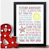 Thank You Teacher Gift Personalised Poem Gift for Teachers Best Teacher Gift - Thank You Gifts for Teachers, Teaching Assistants, TA, Nursery Teachers - ANY RECIPIENT from ANY NAME - A5, A4, A3 Prints and Frames - 18mm Wooden Blocks - FREE Personalisation