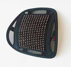 NEU! LORDOSENSTÜTZE aLowag Eleganzia Kunstleder mit einstellbaren Krümmung und Holzperlen! Rückenstütze Rückenkissen für Autositz oder Bürostuhl