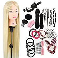 """Neverland Beauty 30"""" 100% Synthetic Fiber Hair Training Head Hairdressing Practice Mannequin Manikin Doll with Clamp + Hair Styling Braid Accessoires Set"""