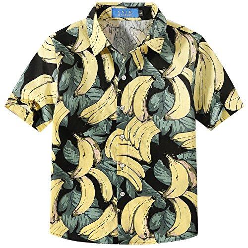 SSLR Jungen Banana Casual Kurzarm Hawaii Aloha Button Down Hemd (Large (11-13Jahren), Dunkelblau) (Aloha Jungen Shirt)