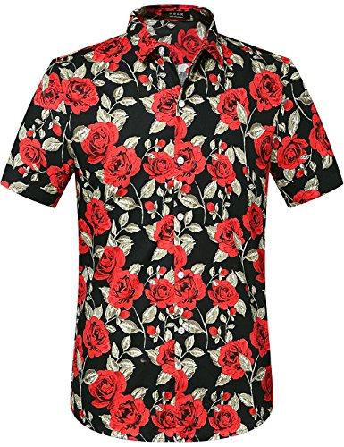 SSLR Herren Hawaiian Hemd Baumwolle Casual Kurzarm Floral Rosendruck Ahloa Freizeit Hawaiihemd (XX-Large, Black) -