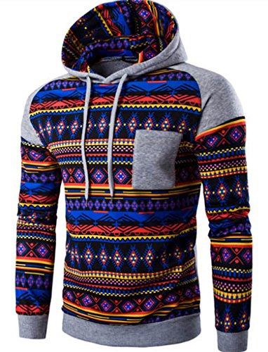 WSLCN Herren Herbst Winter Sweatshirt mit Kapuze Kapuzenshirt Gemustert Hellgrau