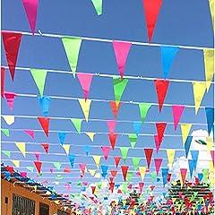 Idea Regalo - JZK 80 metri Festone striscione bandierine triangolari colorate decorazione Natale festa matrimonio compleanno battesimo laurea Pasqua giardino