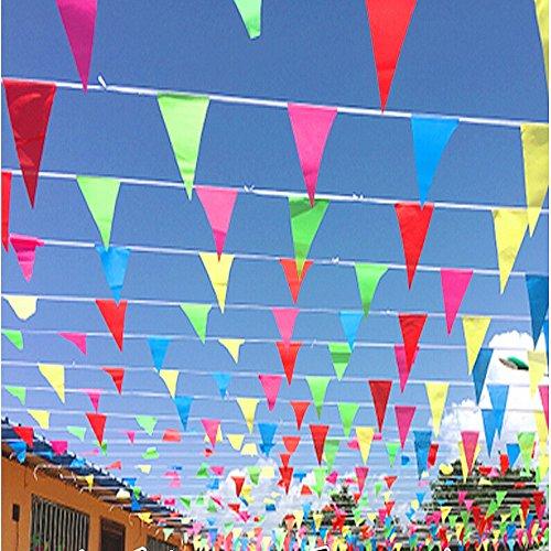 farbig Wimpelkette 80m Dreieck Wimpel Stoff Banner, drinnen und draußen Dekoration für Schule Hochzeit Geburtstag Babyparty Weihnachten Kinder Party (Baby-dusche-hof Dekorationen)