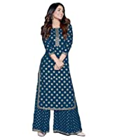 Demirner Women's Rayon Gold Print Blue Kurta and Palazzo Set