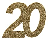 SANTEX 4604-20, Sachet de 6 confettis 6x5cm anniversaire, Or pailleté 20 ans