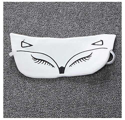 PIOM Schlafaugenmaske einzigartiges Tier Design, Simulation Silk Lady Augenmaske, Mittagspause Schattierung Schlafmaske, leicht zu tragen-White
