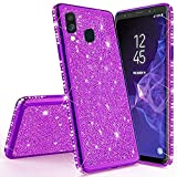 Miagon für Samsung Galaxy M20 Glitzer Hülle,Bling Überzug Glänzend Strass Diamant Weich TPU Silikon Handy Hülle Etui Tasche Schutzhülle Case Cover