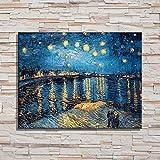zlhcich Sternennacht Welt Ölgemälde Leinwand Malerei Kern Hohe Wand Veranda Nordic Dekoration B 40 * 60 cm (Zeichnung Kern)